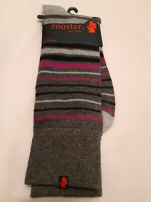 Rooster Dress Socks, charcoal gray w/ purple black and gray stripes, size 10-13