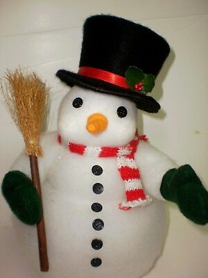 Vintage Table Top Christmas FAT Frosty Snowman TOP HAT  BROOM SCARF BUTTONS