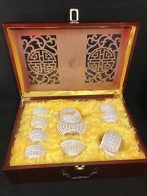 Ling Long Chinese Boxed Porcelain Basket Weave Reticulated Honeycombed Tea Set
