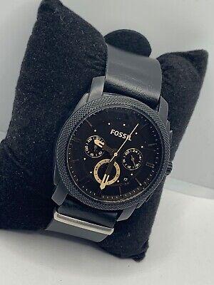 Fossil FS4656 Men's Black Leather Analog Dial Quartz Genuine Wrist Watch JD349