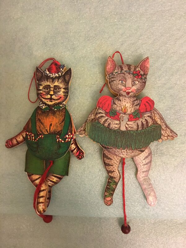 Vintage Pull String Cat Ornament/Toy ~ 2 Sided Wood