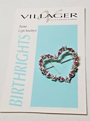 Heart Pin Villager Birthrights Pin June light Amethyst Pin Vintage
