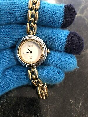Authentic Gucci 11/12 Gold Tone Rice Link Bead Band Swiss Womens Watch New Glass
