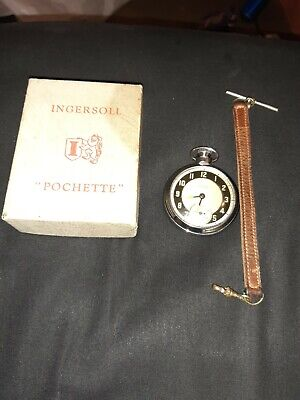 Boxed 40's / 50s Ingersoll Triumph Chrome with albert Pocket Watch
