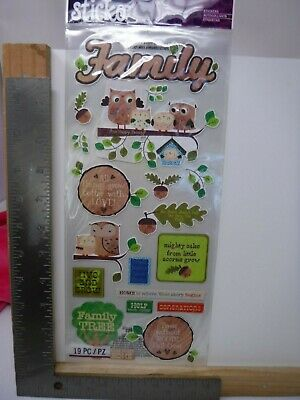 EK SUCCESS STICKO FAMILY WORDS ICONS OWLS TREE ACORN STICKERS NEW A18594