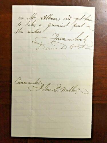 David Dixon Porter Autograph Signed Letter Civil War Admiral Vicksburg