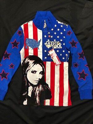 Christian Audigier Crystal Rock (NWT Crystal Rock Christian Audigier Foil cardigan American Flag Embellished *S )