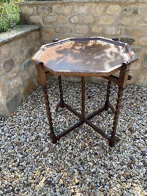 Vintage Wooden Octagonal Side / Card Table - Barley Twist Legs & Reversible Felt
