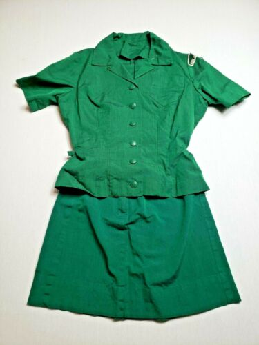 Vintage Girl Scout Uniform - Dark Green with Patches