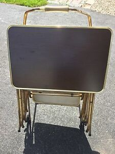 Retro Standing TV Tray Set