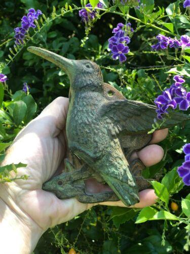 "Vintage Cast Iron Verdigris Patina Hummingbird Door Knocker  6.5"""
