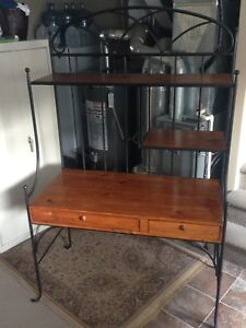 Wrought Iron and Wooden Desk
