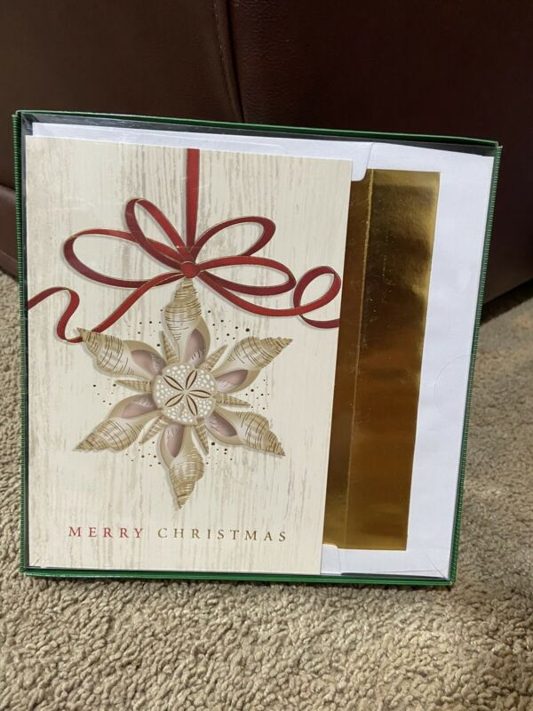 Holiday Collection 18 Cards & Foil Lined Envelopes Christmas Beach Seashell NIB