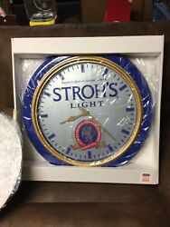"""VINTAGE New Old Stock STROH's LIGHT BEER Large 24"""" Round  Wall Clock IOB SEALED"""