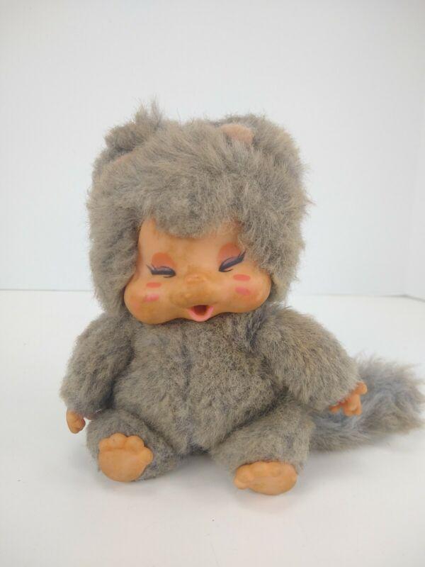 """Vintage 80s SEKIGUCHI Toy Peppi Nappy MONCHICHI Gray Cat Nyamy Doll 7"""" Figure"""