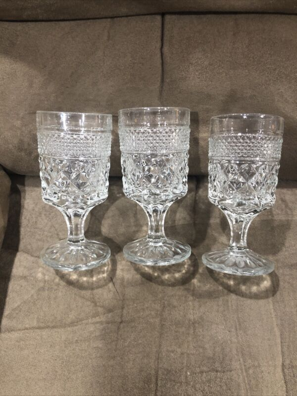 Vintage Set of 3 Clear Pressed Glass Water Beverage Goblets Footed Tumblers 5""