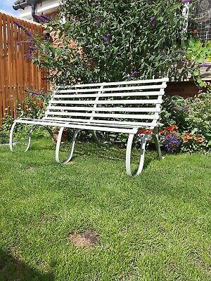 Antique strapwork wrought iron garden bench