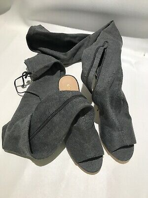 Thigh High Open Toe Sandal Boots 8.5 Gray Charcoal Dark Heather Sock Tall (Open Toe Thigh High Socks)