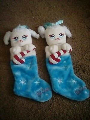 HASBRO Littlest Pet Shop Christmas Stockings (2) - blue/white w/candy cane - NEW](Pet Christmas Stockings)