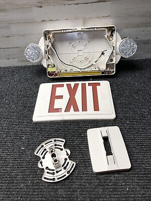 Used Lithonia Exit Sign Light Emergency Red Lens Face Lighting Fixture Lhqm Led