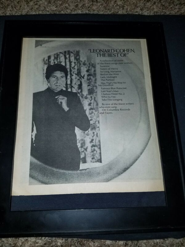 Leonard Cohen Best Of Rare Original Promo Poster Ad Framed!