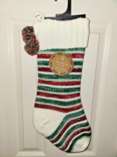 RED/GREEN Stripe Aspen Knit Christmas Stocking NWT