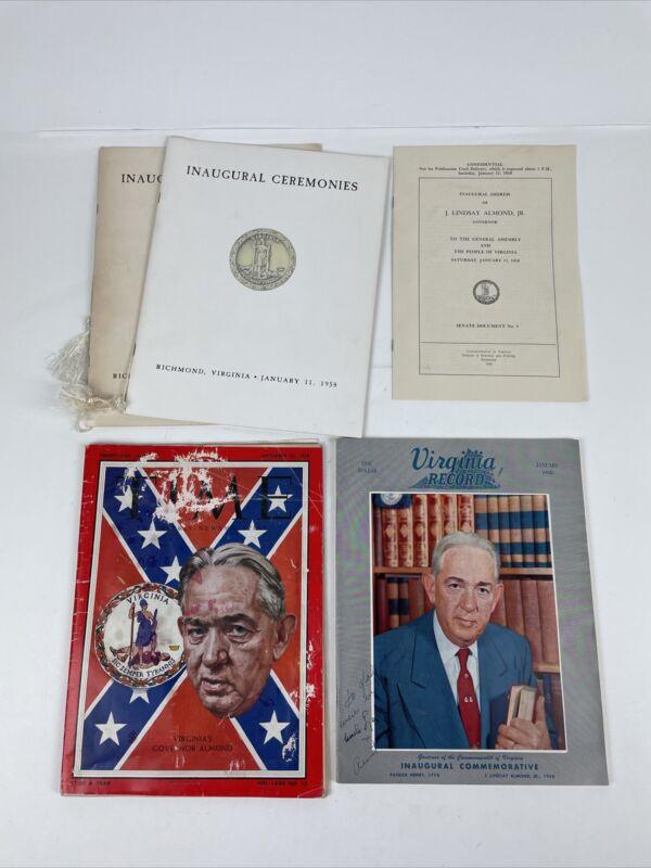 Lot Vintage  Virginia Governor James Lindsay Almond 1958-1962 Ephemera