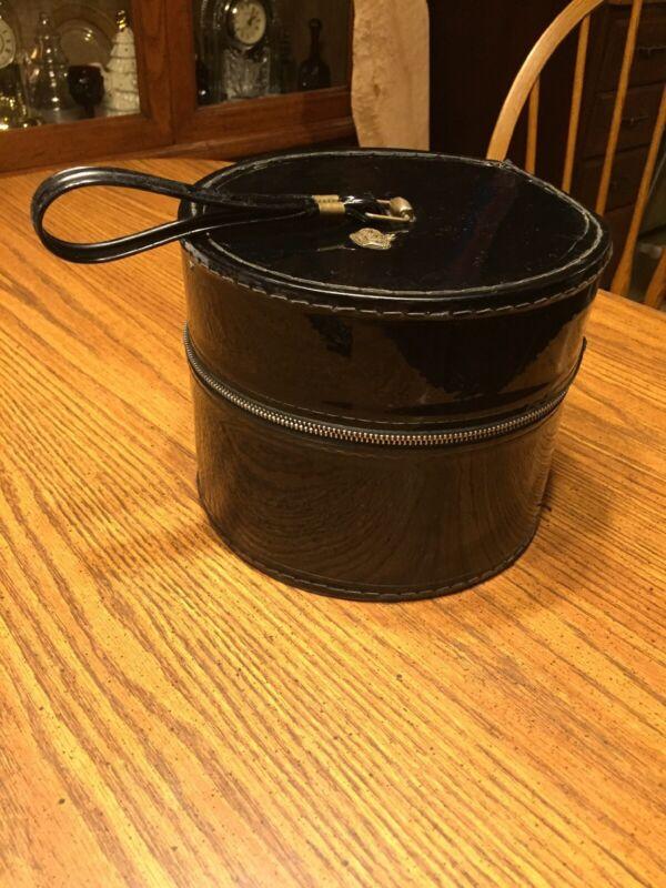Vintage Round Black Zip-Up Hat Wig Box With Crown Emblem