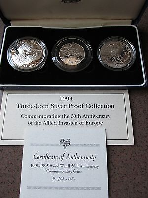 """1994 Three Coin Silver Proof Collection """"WWII Allied Invasion"""""""