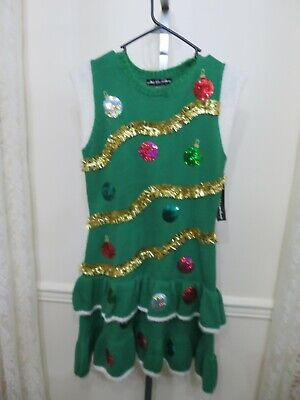 CHRISTMAS UGLY SWEATER DRESS SEQUIN GARLAND BULB SIZE SMALL S NEW