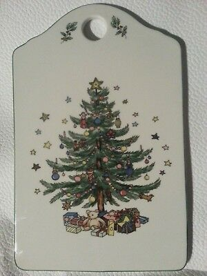 Vintage Christmas Tree Ceramic Trivet , Board and Best Wishes 6 x 9