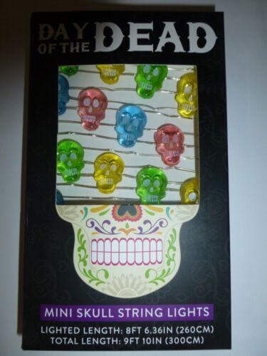 Day Of The Dead 30 Multi Color Mini Skull Battery String Lights Halloween New