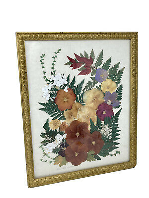 Vintage Pressed Dried Real Flowers Victorian Art Gold Frame Lillian Blackstone