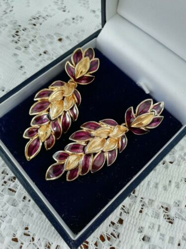 Stunning TRIFARI Earrings Pierced Smooth Gold Tone Purple Leaf Design Drop