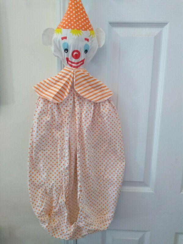 Vintage Clown Hanging Diaper Stacker Holder 1960s