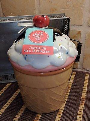 NEW!  CHERRY TOP  offers   ICE CREAM CUP CONE 1.7 QT COOKIE JAR