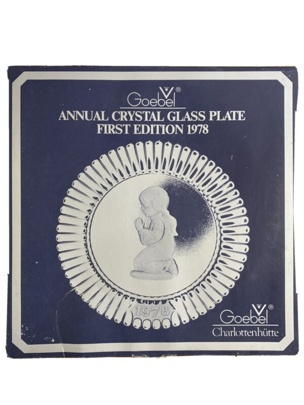 Goebel Annual Crystal Glass Plate 1st Edition 1978 Open Box