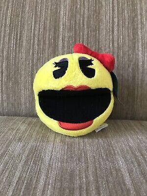 Pac-Man Plush 5 '' . Licensed. Brand New Yellow Ms Pac- Man. Stuffed Toy. USA.