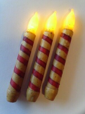 3 PRIMITIVE CANDY CANE TIMER TAPER Candles GRUNGY 6.75
