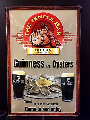 GUINNESS And OYSTERS Vtg Metal Pub Sign 3D Embossed Steel Decor,Irish 20x30 cm