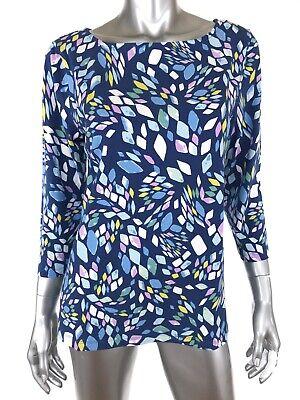 Appleseeds Womens Knit Top Sz Medium Multicolor Print Cotton Spandex 3/4 Sleeve  3/4 Sleeve Knit Top