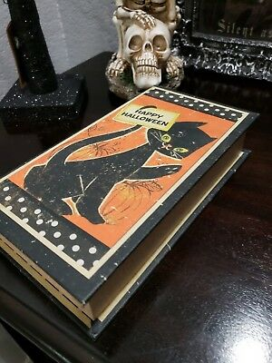 Faux Halloween Vintage Retro Style Post Card Spell Book Stash Box Black Cat NEW