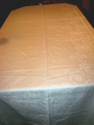 "Vintage Irish Linen Orbs/Bows/Scroll Damask Tablecloth w/5 Napkins -142""x 71""-"