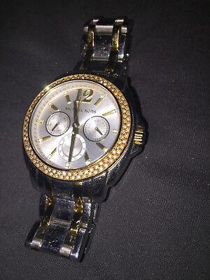 Michael Kors Rhinestones Silver/Gold Watch, Pre-owned, Needs Battery, Women, Men