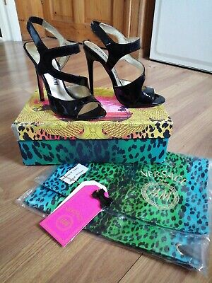"""Ladies Shoes-Versace for H&M- Size 5- Black Patent Leather-5"""" Heels- Strappy"""