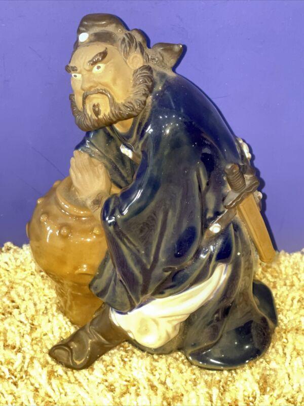 Chinese Mudman Figurine Samurai Clay Figure Statue