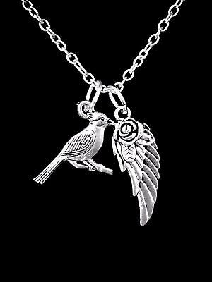 Cardinal Bird Necklace Animal Angel Wing Sister Mom Son Christmas Gift Charm