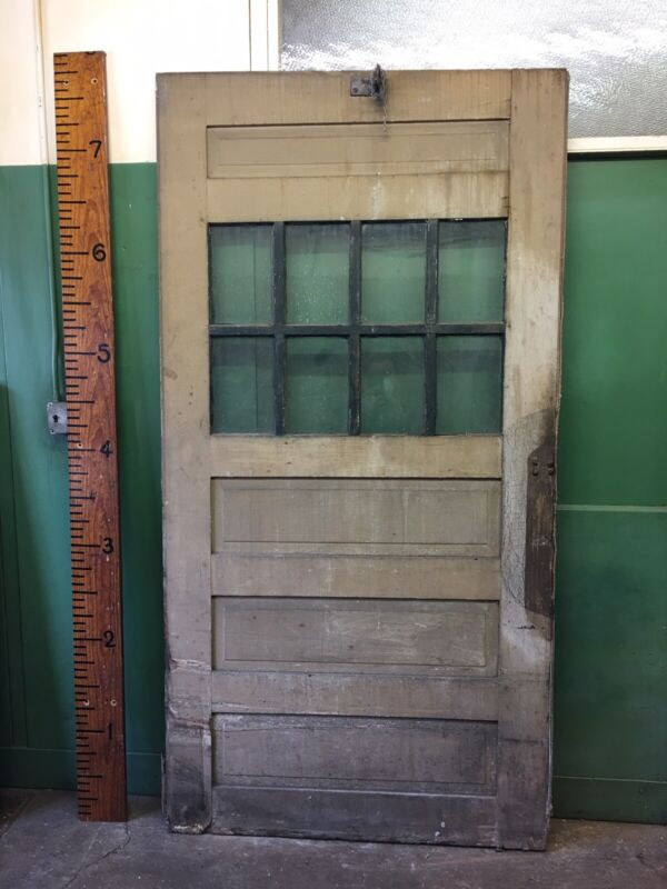 Large Vintage Salvaged Reclaimed Sliding Carriage Barn Wood Door 47x92    8 Lite