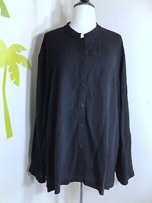 Eileen Fisher Plus Size Black Button Down Shirt Linen Blend Long Sleeve Sz 2XP Plus Size Linen Blend Shirt