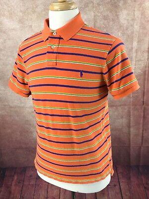 Polo Ralph Lauren Custom Fit Mesh Short Sleeve Orange Stripe Shirt Men's M Custom Fit Mesh Shorts
